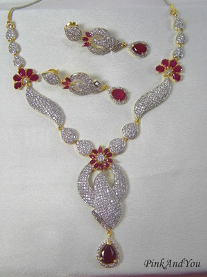 Beautiful American Diamond Necklace studded of multiple Pink Ruby stones