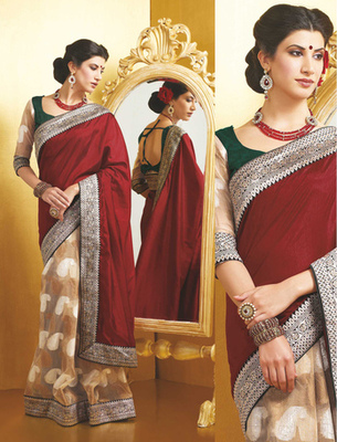 Hypnotex Art Silk + Super Net Jacquard Cream+Maroon Saree Indra 101