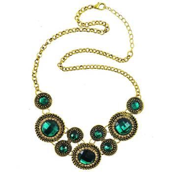 DIOVANNI Solitaire Green Garnet Glory Gemstone Necklace