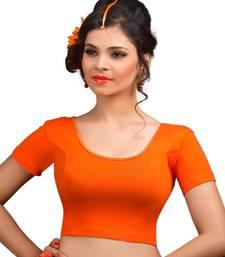 Buy Orange cotton lycra  readymade blouse plus-size-blouse online