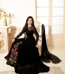 Buy Black georgette embroidered semi stitched salwar with dupatta salwar-kameez online