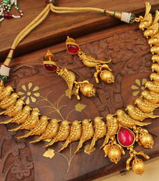 Buy AWESOME MATTE FINISH PARROT BRIDAL NECKLACE SET-DJ02580 south-indian-jewellery online