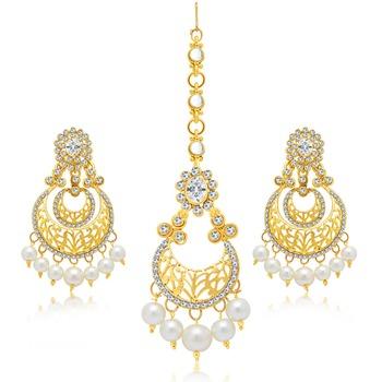 Glamorous Gold Plated Earring With Mangtikka Set For Women