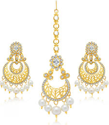 Buy Glamorous Gold Plated Earring With Mangtikka Set For Women jewellery-combo online