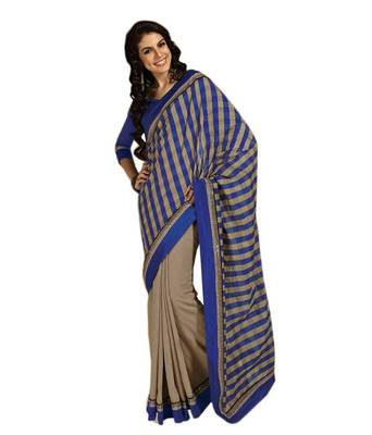 Loootlo Blue and Gray Embroidered Designer Party wear Border work saree