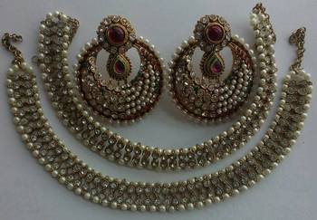 Designer Maroon colour Earings with Traditional Anklets