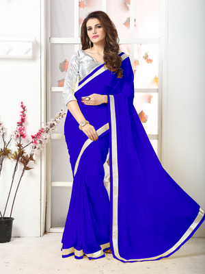 Blue  Embroidery Chiffon Saree With Blouse
