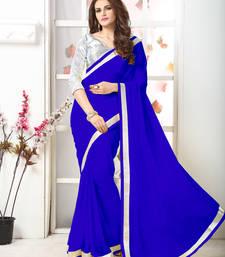 Buy Blue  Embroidery Chiffon Saree With Blouse chiffon-saree online