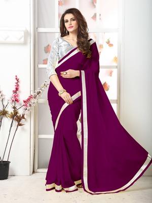 Wine  Embroidery chiffon saree with blouse