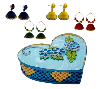 Handmade Paper earrings combo with Designer jewellery box Set