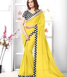 Buy yellow embroidered chiffon saree with blouse chiffon-saree online