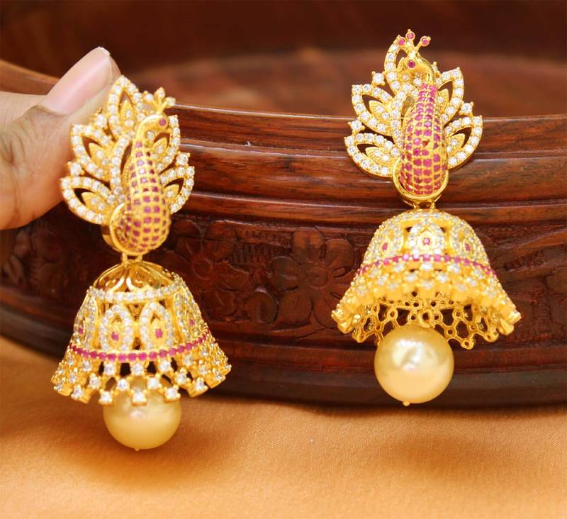 Buy AWesome Designer High gold Plated Party wear Peacock Jhumkas ...