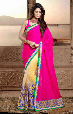 Pink and Cream Georgette Jacquard Embroidery Work Half and Half Saree