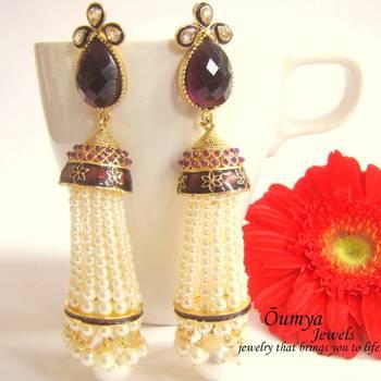 Purple latkan pearl earrings
