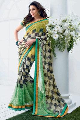 Green Chiffon Brasso Printed Saree