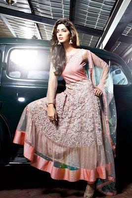 Beautiful Zari and Resham Embroidery Work Net Fancy Anarkali Suit