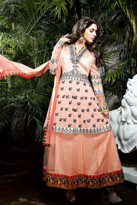 This a Beautiful Orange Net and Georgette Fancy Suit