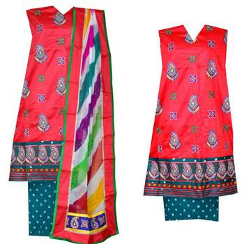 Ram leela style dress material in cotton satin with bandhani bandhej kutchi work embroidery