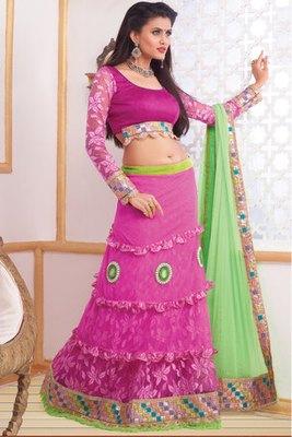 Rose Pink Net Lehaga Choli Decorated With Lace,Moti and Diamond work
