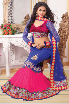 Amazing Blue and Pink Net Lehanga Choli With Diamond and Hand work Butta