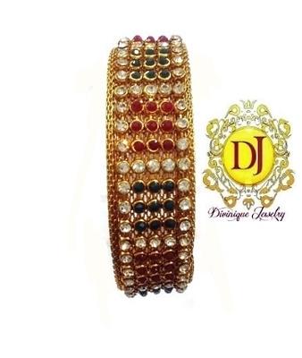 Multicoloured Polki n AD studded bracelet ...free size openable
