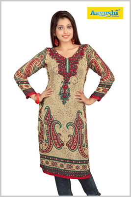 Pakistani style Faux georgette diamond studded beige printed long kurti