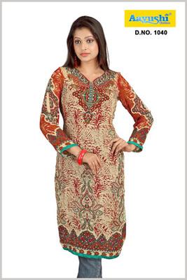 Pakistani style Faux georgette diamond studded beige printed long kurti