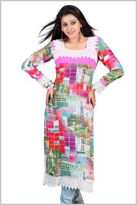 Multi Colour Full Sleeves Digital Printed Kurta