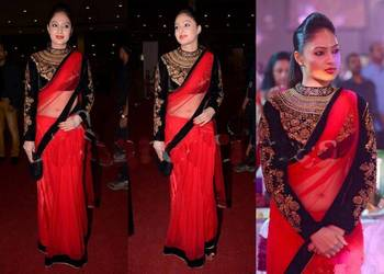 nikesha Pretty embroidered bollywood Red saree