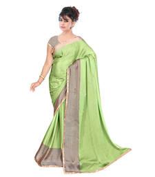 Buy light olive printed satin saree With Blouse printed-saree online