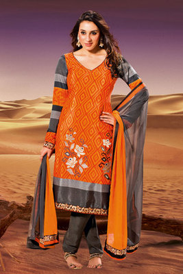This a Orange Crepe Salwal Kameez Designed with Zari Embroidery and Stone Work