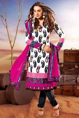 Cream and Pink Designer Salwar Kameez With Pink Georgette Dupatta