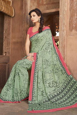 Green Printed Saree with Art Silk Fabric