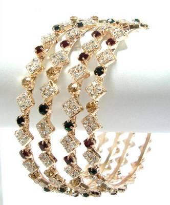 4 piece sleek multicolor rhinestone bangle 1627