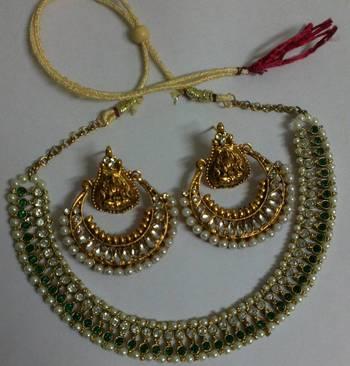 Designer Ram Leela Kundan Earrings with Green colour Necklace set