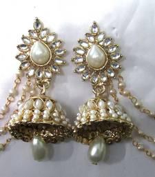 Buy White Pearl Jhumka With Pearl Ear chian Earring jhumka online