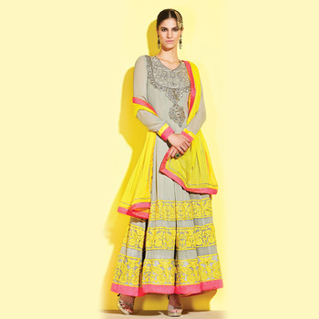 Gray Floor Touch Anarkali