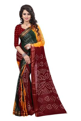 red hand woven bandhani saree With blouse