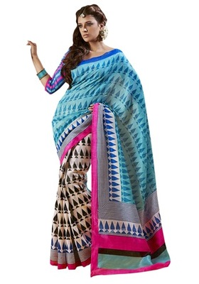 Triveni Amazing Multi Indian Traditional Bhagalpuri Silk Printed Saree TSVD19004
