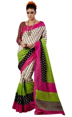 Triveni Amazing Multi Indian Traditional Bhagalpuri Silk Printed Saree TSVD19010