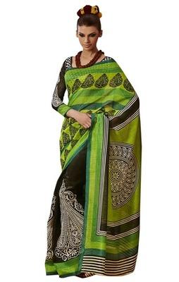 Triveni Amazing Black Indian Traditional Bhagalpuri Silk Printed Saree TSVD19016
