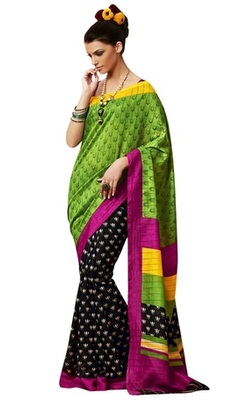 Triveni Amazing Multi Indian Traditional Bhagalpuri Silk Printed Saree TSVD19034