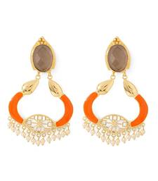 Buy Orange Enamelled Hoop Earrings Adorned With Black Stone & Pearl Beads danglers-drop online
