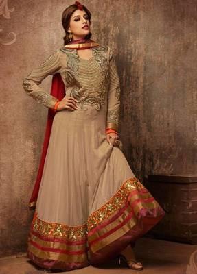 Beige Faux Georgette Abaya Style Churidar Salwar Kameez anarkali dress party festival weddings gift