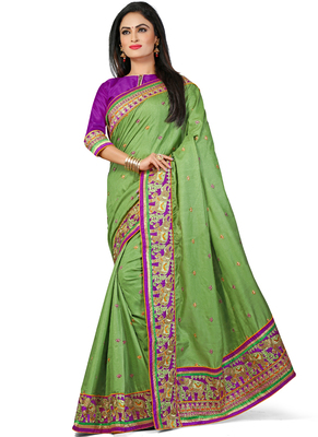light green embroidered manipuri silk saree With Blouse