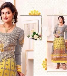 Buy Grey and Yellow net georgette Anarkali suit anarkali-salwar-kameez online