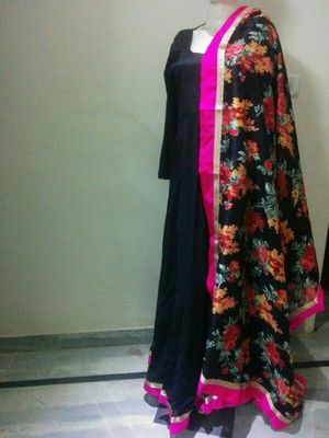 Black silk designer dress