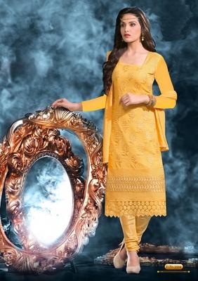 Yellow chiffon Designer sakwar suit