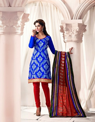 Blue and red Cotton Embroidered salwar suit
