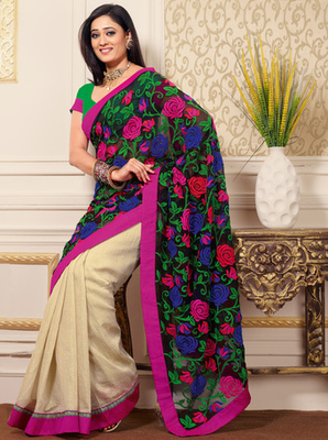 Hypnotex Georgette+Art Silk Black+Cream Saree Mace 2020